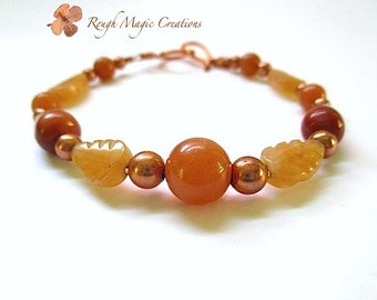 Fall Colors Gemstone Bracelet. Woodland Autumn Leaves. Peach Orange Aventurine, Earthy Red Brown Agate Stones. Copper Beads. Chunky Bracelet
