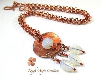 Copper Pendant & Chain Necklace. Boho Woodland Jewelry. Faux Rainbow Moonstone White Rose, Leaves. Rustic Antique Copper. Adjustable Choker