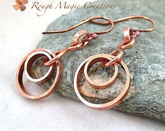 Abstract Circle Earrings. Copper Jewelry. Rustic Metal. Boho Chic Gypsy Dangles. Geometric Concentric Rings. EcoFriendly Primitive Metalwork