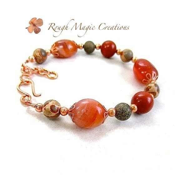 Juicy Fiesta Bracelet. Colorful Red Orange Carnelian Gemstone. Earthy Brown, Olive Green Safari Jasper Stone. Copper Hand Forged Clasp