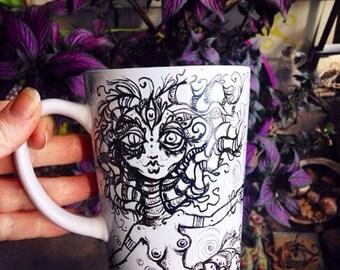 Real Mermaids Drink Tea hand painted porcelain tea cup