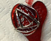Red Rose with a Swarovski Crystal on a Heart Suncatcher - 3 Dimensional
