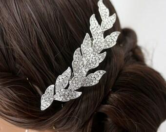 Wedding Hair Comb Silver Leaf Tiara Hair Vine Headpiece Bridal Hair Comb Swarovski Crystal Bridal Hair Accessory LAUREN Small