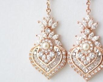 Rose Gold Earrings Bridal Earrings Rose Gold Crystal Earrings Pearl Wedding Earrings Vintage Wedding Jewelry EVIE DROP