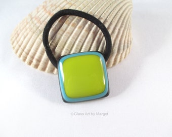 Fused Glass Ponytail Holder Lemongrass Blue Turquoise Hair Accessory
