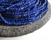 MINI  blue seed beads , rustic indigo blue glass beads ,organic tube barrel mini spacer Indonesian 1 to 2mm / 44 inches strd - 5A1-1