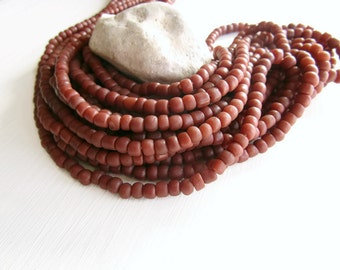 brown red glass beads , matte sienna seed  beads , tube barrel spacer ,  New Indo-pacific 3 to 6mm / 22 inches strand -  6BB1-1