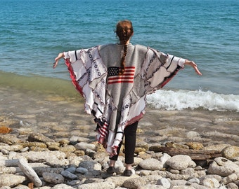 Glory frankensweater poncho flag theme capelet upcycled hoodie gypsy coat 78