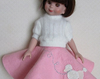 """For 14"""" Betsy McCall, Poodle Skirt and Sweater"""