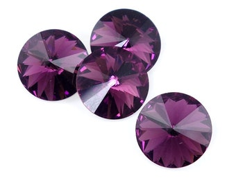 12mm Rivoli AMETHYST PURPLE Swarovski Rivoli Article 1122 12mm Dark Purple Rivoli Crystals Swarovski Elements
