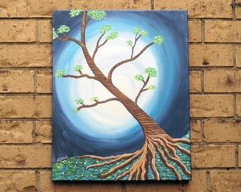 "Tree with Blue Moon Acrylic Painting 16"" x 20"" Ready to Hang"