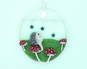 Hedgehog pendant - hedgehog in a field of mushrooms watching the moon and stars art pendant, hedgehog jewelry, one of a kind