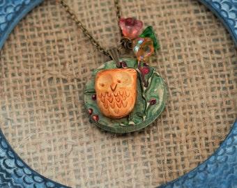 Owl Necklace, Bird Pendant, Animal Necklace