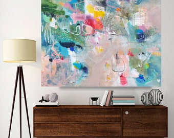 Abstract painting, large mixed media painting, canvas art 26 x 31 inches