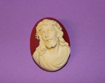 Large Red Jesus Cameo Brooch