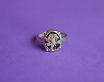 Tiny Black and Pink Wildflower Dainty Silver Cameo Ring