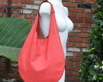 Red Leather Minimalist Tote Bag