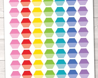 ON SALE Planner Stickers Ombre Hexagons Printable Planner Sticker Set