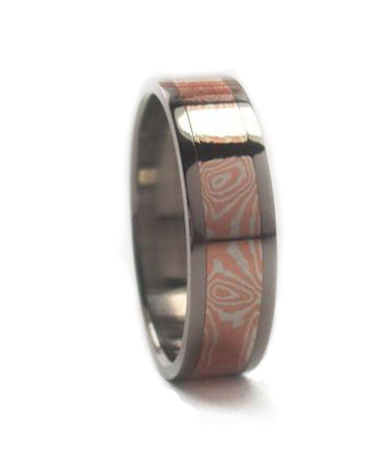 Mokume Gane Wedding Band Titanium Ring By Jewelrybyjohan