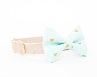 Valentine's Day Girly Bow Dog Collar - Mint Bow with Gold Hearts, Gold Linen Collar