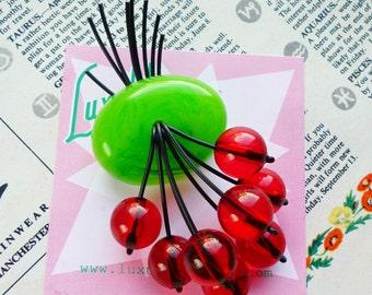 Classic Luxulite Cherry brooch! Handmade 40s style Apple green swirled bakelite fakelite style novelty juicy red cherry brooch