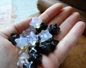 BLACKSTONE black jasper merkaba pendant bead - occult sacred geometry focal bead