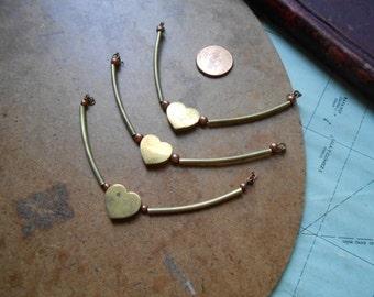 3 pc vintage old new stock heart pendants