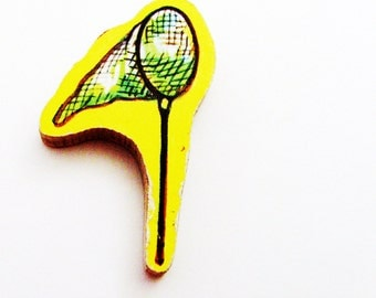 1960s Seine Net Brooch - Pin / Yellow, Green & Black Butterfly or Fishing Net / Upcycled Hand Cut Wood Piece / Unique Gift Under 25