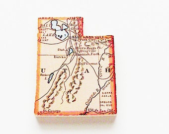 1915 Utah Brooch - Pin / Unique Wearable History Gift Idea / Upcycled Antique Wood Jewelry / Timeless Gift Under 50