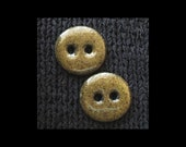 "Handmade Ceramic Button: 1"" Speckled Olive on Black Basaltic Stoneware"