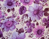 1970s Vintage Floral Fabric - Flower Power in Mauve and Pink Cotton 2m +