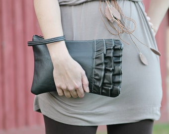 Black Leather Clutch - Handmade Ruffled Wristlet - Gifts for her - Leather Evening Bag -