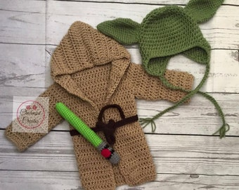 Crochet Baby Yoda Star Wars Inspired Photo Prop with Robe and Light saber, Halloween Costume