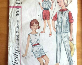 Simplicity 3941 Vintage 60's Girls Sportswear Playclothes Sewing Pattern Size 7