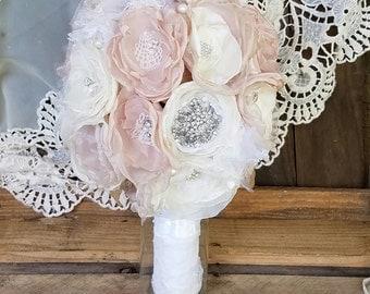 Bridal Brooch Bouquet, Wedding Bouquet, Fabric Brooch Bouquet,Fabric Flower Bouquet, READY TO SHIP, Champagne bouquet, Bridal Flowers