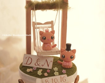 kitty and cat bride and groom wedding cake topper