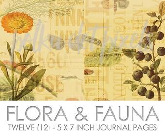 Flora & Fauna Digital Junk Journal Printable Pages Paper Pack