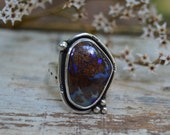 Reserved. Boulder Opal Ring. Sterling Silver Gemstone Ring. One of a Kind Jewelry. Size 9