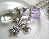 Fleur de Lis Gemstone Charm Necklace Reserved