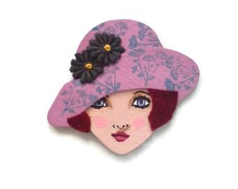 Pretty Jazz Age Girl Fabric Brooch, Felt Brooch, Art Brooch, Wearable Art Jewelry, Mother's Day Gift