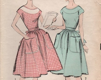 1950s Advance 8847 Vintage Sewing Pattern Misses Full Skirt Dress, One Piece Dress, Wrap Dress, Wrap Apron Size 10 Bust