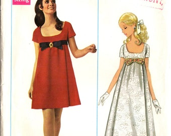 1960s Butterick 4924 Vintage Sewing Pattern Misses Evening Dress Designer Norma Trullo Size 12 Bust 34
