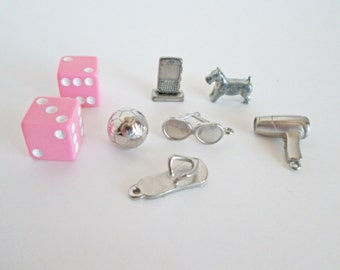 Monopoly Boutique, six game pieces, Pewter Tokens pink girly dice, soccer ball, sandal, sunglasses, hair dryer, cell phone, jewelry making