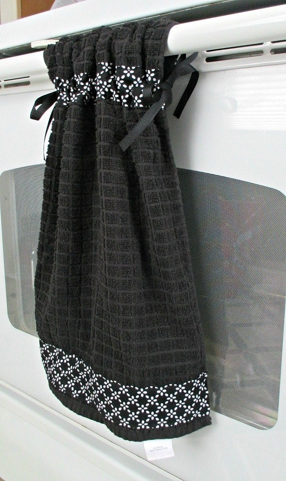 Tie Top Towels Black Kitchen Cotton Towel Accented With Black