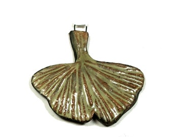 One Small Stoneware Ginkgo Leaf, Hand Formed, Reversible, Glaze Finish One Side, Terra Sigillata Accent, Perfect Pendant Jewelry Component