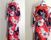 Vintage 60's maxi dress / Mardi Gras couture / hippie maxi dress / flora print maxi dress
