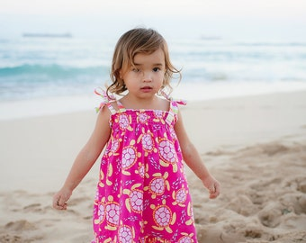Girls Beach Dress - Sea Turtle Dress - Hawaii Dress