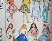 "Skipper's Doll's Instant Wardrobe, McCall's 7716 Vintage 60's Craft Pattern, 9"" Doll Clothes, Uncut Factory Folded"