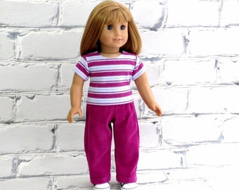 18 inch Doll Clothes Casual Outfit, fits American Girl Doll, Stripe Tee Shirt, Corduroy Pants, M2M Gymboree