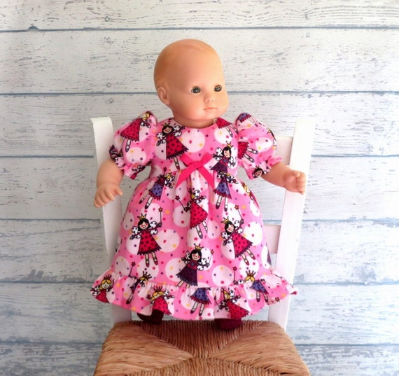 Fairy Princess Flannel Nightgown with Sparkly Slippers, 15 inch Doll Clothes, Bitty Pink Nightgown,